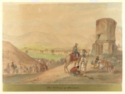 The Maidan Valley (Afghanistan).  Tower on right, British officer mounted on camel, and fruit-seller.  Army passing along valley on left towards Arghandi